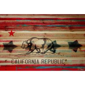 Cal Repub 18 x 12 In. Painting Print on Natural Pine Wood
