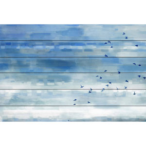Blue Sky Birds 36 x 24 In. Painting Print on White Wood