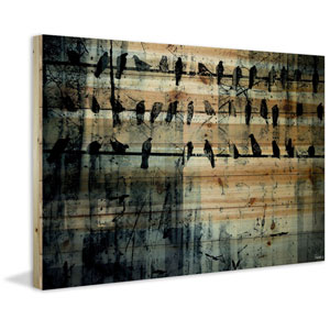 On the Line 45 x 30 In. Painting Print on Natural Pine Wood