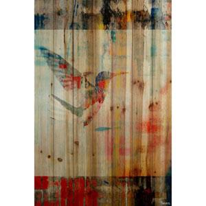 Humming Bird Flies 18 x 12 In. Painting Print on Natural Pine Wood