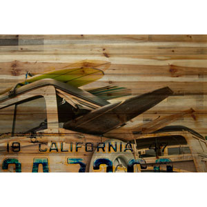 Cali Day 36 x 24 In. Painting Print on Natural Pine Wood