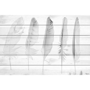 Five White Feathers 60 x 40 In. Painting Print on White Wood