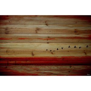 Flying South 18 x 12 In. Painting Print on Natural Pine Wood