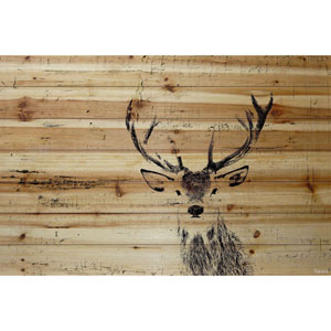 Inquisitive Deer 60 x 40 In. Painting Print on Natural Pine Wood