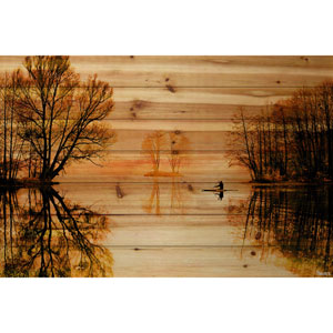 Glass Lake 36 x 24 In. Painting Print on Natural Pine Wood