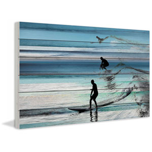 Wave Jumping 24 x 16 In. Painting Print on White Wood