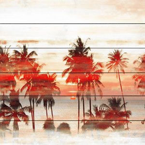 Glowing Red Palms 40 In. Painting Print on White Wood
