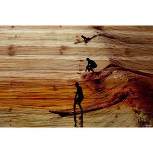 Surfing the Wave 24 x 16 In. Painting Print on Natural Pine Wood