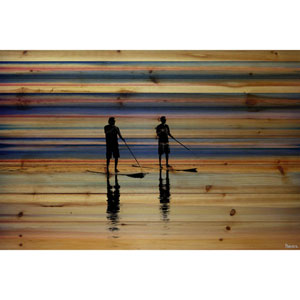 Beach Surf 60 x 40 In. Painting Print on Natural Pine Wood