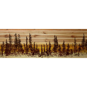 Pine Tree Sunset 60 x 20 In. Painting Print on Natural Pine Wood