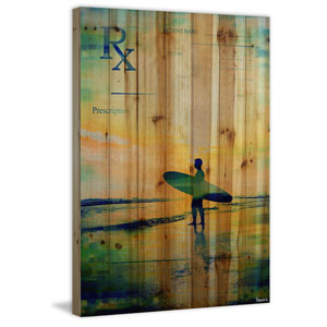 RX Surf 16 x 24 In. Painting Print on Natural Pine Wood