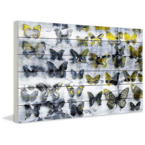 Yellow Wings 60 x 40 In. Painting Print on White Wood