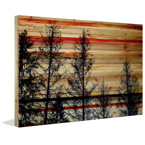 Trees Against Red Sky 60 x 40 In. Painting Print on Natural Pine Wood
