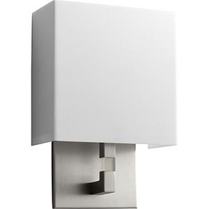 Chameleon Satin Nickel One-Light 120V/277V Wall Sconce with Matte White Shade