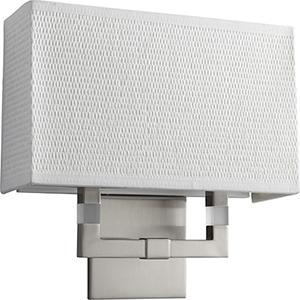Chameleon Satin Nickel Two-Light 120V/277V Wall Sconce with White Grass Shade