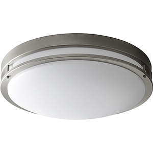 Oracle Satin Nickel 24-Inch Two-Light 120V/277V Flush Mount with Matte White Shade (6-Inch H.)