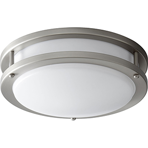 Oracle Satin Nickel 11-Inch One-Light 120V/277V Flush Mount with Matte White Shade (4-Inch H.)