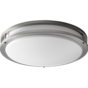 Oracle Satin Nickel 18-Inch Two-Light 120V/277V Flush Mount with Matte White Shade (4-Inch H.)