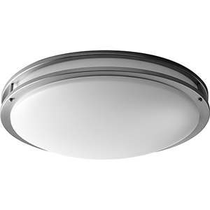 Oracle Satin Nickel 24-Inch Four-Light 120V/277V Flush Mount with Matte White Shade (5-Inch H.)