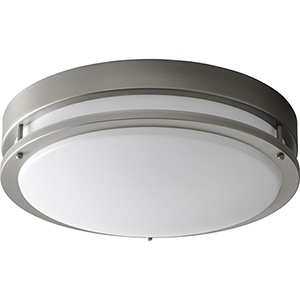 Oracle Satin Nickel 18-Inch Two-Light 120V/277V Flush Mount with Matte White Shade (6-Inch H.)