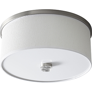 Echo Satin Nickel 15-Inch Two-Light 120V/277V Flush Mount with White Grass Shade