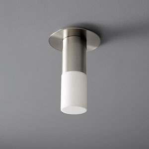 Pilar Small Satin Nickel Acrylic 5-Inch LED 120V Ceiling Mount