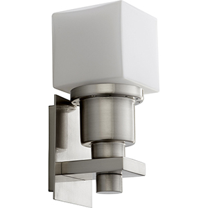 Elements Satin Nickel One-Light LED Wall Sconce with White Opal Glass
