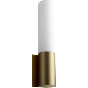 Magnum Aged Brass One-Light LED Wall Sconce with Matte Opal Glass