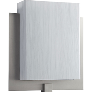 Pathways Satin Nickel One-Light LED Wall Sconce with Silver Cloth Shade