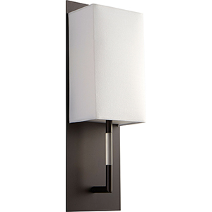 Epoch Oiled Bronze One-Light LED Wall Sconce with White Cotton Shade