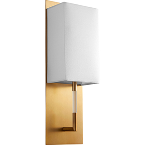 Epoch Aged Brass One-Light LED Wall Sconce with White Cotton Shade