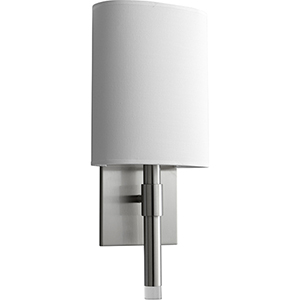 Beacon Satin Nickel One-Light LED Wall Sconce with White Cotton Shade