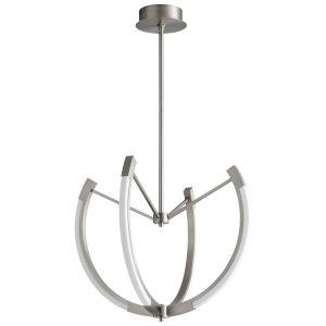 Utopia Satin Nickel 28-Inch Four-Light LED Chandelier