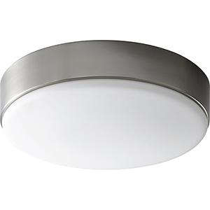 Journey Satin Nickel 14-Inch One-Light LED Flush Mount with White Opal Glass
