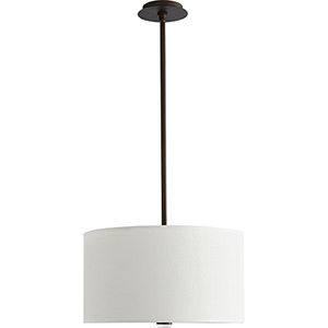 Echo Oiled Bronze 18-Inch Three-Light LED Pendant with White Grass Shade