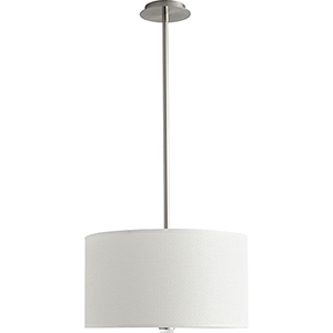 Echo Satin Nickel 18-Inch Three-Light LED Pendant with White Grass Shade