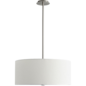 Echo Satin Nickel 24-Inch Three-Light LED Pendant with White Grass Shade