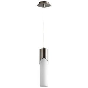 Ellipse Satin Nickel 17-Inch LED Glass Mini-Pendant