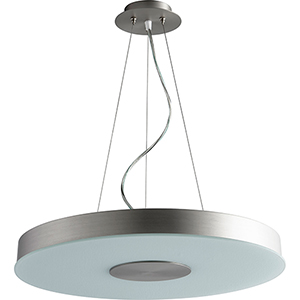 Dione Satin Nickel 21-Inch One-Light LED 120V/277V Pendant with Frosted Glass