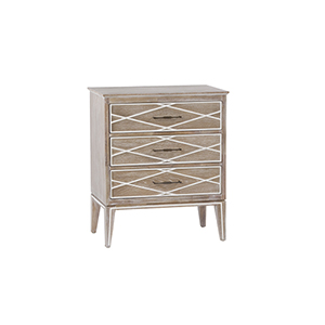 Tess Natural White Cerused Oak and Antique Brass 26-Inch Chest