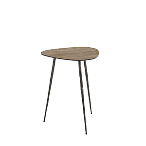Jim Recycled Elm and Black Forged Metal 15-Inch Side Table