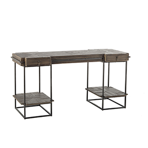 Hill Wax Black and Recycled Dark Elm 61-Inch Desk