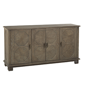 Rhodes Charcoal Oak and Antique Brass 65-Inch Cabinet