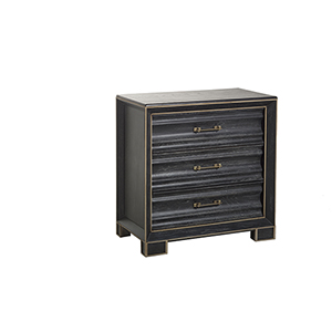 Oberon Black Cerused Oak and Antique Gold Metal 31-Inch Chest
