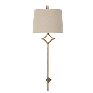 Theresa Antique Gold Metal 34-Inch Sconce