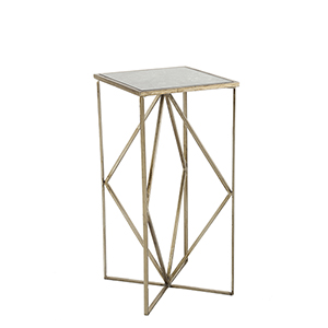 Gilroy Brushed Champagne and Black Antique Mirror 12-Inch Side Table