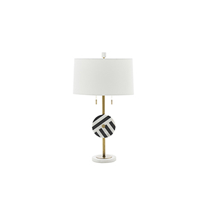 Piper Black and White Marble and Antique Brass 7-Inch Table Lamp