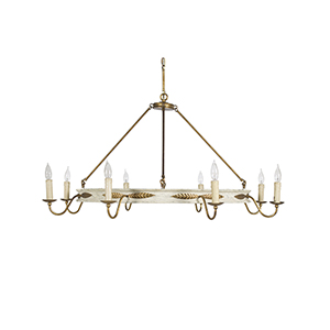 Kayleigh Antiqued White and Antique Gold Leaf 48-Inch Chandelier