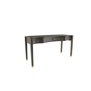 Nathan Dark Gray Cerused Oak and Stainless Gold 60-Inch Desk