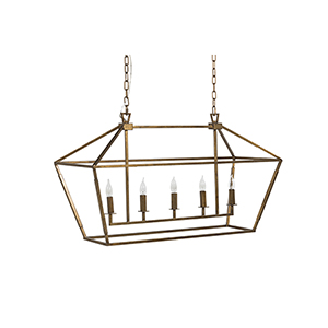 Adler Antique Gold Five-Light Chandelier
